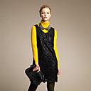 GOELIA Ženska crna V-izrez Sequin Čipka rukava haljina
