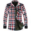 Muška Provjerite Pattern Topla Velvet Shirt