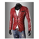Moda Stand Collar PU Leather Jacket Coat