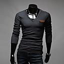 Obično Muška Majica s rukavima Ležerne prilike,Mješavina pamuka Dugih rukava-Crna / Bijela / Siva