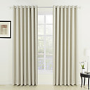 Two Panels Neoclassical Solid Ivory Living Room Polyester Panel Curtains Drapes