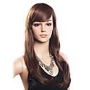 高品質の20%人毛&80%耐熱ファイバー毛のキャップレスの長い波状のかつら(ダークブラウン)