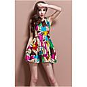 Oudi Ženska cvjetni print Okrugli vrat rukava haljina