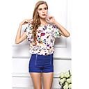女子ラウンドカラー半袖シフォンTシャツを印刷