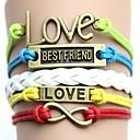 Vintage a barevné s písmeny zamilovat nejlepší přítel Ručně tkané náramek