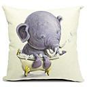 漫画の象の赤ちゃんの綿/リネン装飾枕カバー