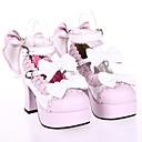 Boty Sweet Lolita Princeznovské Vysoký podpatek Boty Mašle 7.5 CM Bílá / Růžová Pro Dámské PU kůže/Polyurethanová kůže