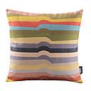 虹不規則なストライプコットン/リネン装飾枕カバー