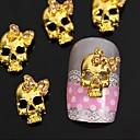 10ks zlatý punková lebka s kamínky 3D motýlkem nail art dekorace