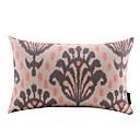 抽象ベビーピンクの花コットン/リネン装飾枕カバー