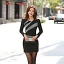女性の韓国のスリム長袖のドレス