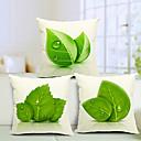 sada 3 krásné listí bavlna / len dekorativní polštář