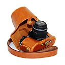 dengpin® kožené ochranné pouzdro fotoaparátu olej kůže s popruhem přes rameno pro Olympus OM-D E-M10 s 14-42mm objektivem