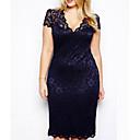女性 セクシー フォーマル シース ドレス,ソリッド ディープVネック 膝丈 半袖 ブルー 夏 伸縮性あり 薄手