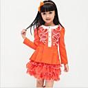 Dívka je Jednobarevné Zima / Jaro / Podzim Šaty Směs bavlny Oranžová / Růžová / Červená