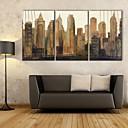 e-HOME® plátně art město výškových budov dekorace malířské sadu 3