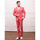 スーツ スリムフィット スリムノッチドラペル シングルブレスト 一つボタン 3点 ウォーターメロン ストレートフラップ