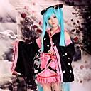 Inspirovaný Vocaloid Hatsune Miku Anime Cosplay kostýmy Cosplay šaty / Kimono Patchwork Czarny Dlouhé rukávyKimono / Sukně / Vlasové
