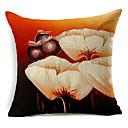 白の花柄コットン/リネン装飾的な枕カバー