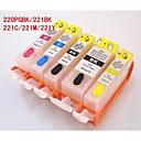 bloom® pgi220bk-221bk-221c-221m-221y punjive spremnika s tintom za Canon Pixma ip3600 / IP4600 / mp540 / mp620 (5 boja 1set)