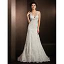 Lanting Bride® タイト/コラム 小柄 / 大きいサイズ ウェディングドレス レイシー コートトレーン Vネック レース とともに アップリケ / スパンコール / ビーズ