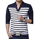 男性用 ストライプ カジュアル / プラスサイズ Tシャツ,長袖 コットン / ポリエステル,ブルー / レッド