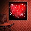 e-HOME® protáhl pod vedením plátně umění červená láska blesku vliv blikání optického vlákna tisk