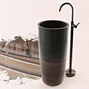 アンティーク調 床取付け 床置き with  セラミックバルブ シングルハンドルつの穴 for  アンティーク真鍮 , 浴槽用水栓