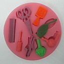 škare za kosu alati obliku Fondant kolač čokoladna silikonski kalup, cupcake ukras alati, l8.2cm * w8.2cm * h0.9cm
