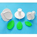 4-cの大型バラの葉のプラスチックフォンダンケーキプランジャカッターは3セット、最新のケーキデコレーション用品