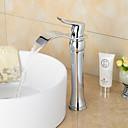 現代風 組み合わせ式 滝状吐水タイプ with  セラミックバルブ シングルハンドルつの穴 for  クロム , バスルームのシンクの蛇口