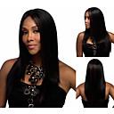モダンなアフロ合成かつら女性用ロングストレート黒髪のアフリカ系アメリカ人かつら