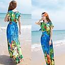 WOMEN - セクシー/ビーチ/パーティー - ドレス ( シフォン ラウンド - 半袖