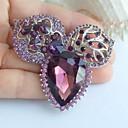 2.36 palců silver-tone fialový drahokamu crystal flower brož přívěsek umělecké dekorace