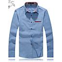 Pánské Jednobarevné Denní nošení / Pracovní / Formální / Větší velikosti Dlouhý rukáv Směs bavlny / Denim Košile Modrá