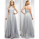 TS Couture® Formal Evening Dress - Beautiful Back Plus Size / Petite A-line / Princess High Neck Floor-length Organza with Beading / Split Front /