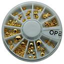 1 kus nail art tipy 3d třpytí slitiny kovů plátek dekorace manikúra tipy kulaté kol zlatou barvu