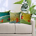 set od 3 country stilu crtan Fox uzorak pamuka / lana dekorativne jastučnicu