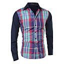 Muži Barevné bloky Běžné/Denní Jednoduché Košile-Jaro / Podzim Bavlna Košilový límec Dlouhý rukáv Modrá / Zelená Střední