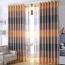 2パネル ウィンドウトリートメント 現代風 , 縞柄 ベッドルーム リネン 材料 遮光カーテンドレープ ホームデコレーション For 窓