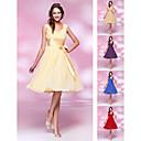 Homecoming Bridesmaid Dress Knee Length Chiffon and Stretch Satin A Line V Neck Dress