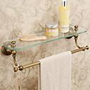 Moderne starinski mesing rezbarenje kupaonice staklene police s ručnik bara