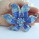 nádherný 3,74 palce stříbrné tón modré drahokamu křišťálově orchidej květina brož přívěsek