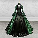steampunk®gothic dama dugih rukava zeleni i crni tisak satena haljina