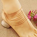 女性のファッションのゴールドプレートチェーンタッセル多層ビーチアンクレット