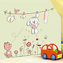 lijepi bijeli zec clothesline zrakoplov zidne naljepnice na zid dekor, pvc izmjenjivi