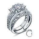 Snubní prsteny Stříbro Zirkon Peří Round Shape Elegantní Šperky Svatební Párty Denní Ležérní 2pcs