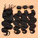 閉鎖が付いている毛横糸 マレーシアンヘア ウェーブ ヘア織り
