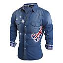 Muži Tisk Běžné/Denní Jednoduché Košile-Jaro / Podzim Polyester Košilový límec Dlouhý rukáv Modrá Střední