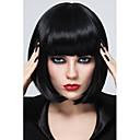高品質の黒の合成繊維ボブスタイルの女性の人工毛ウィッグ